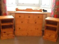 Pair of bedside, chest of draw, large miroir, king size bed with 4 drawers and rotten chair