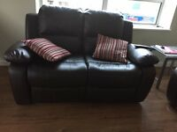 2 x 2 Seater Brown Leather Recliner Sofas