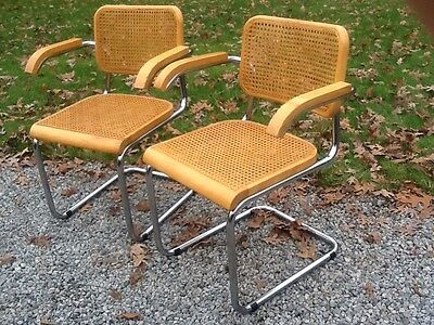 2 Vintage Mid Century Thonet Marcel Breuer Cesca Matching Chairs   Very Good