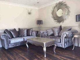 New Silver Grey 3+2 Crushed Velvet Sofas