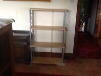 Shelf unit bookcase shelves beech colour 121Hx75Wx30D cms