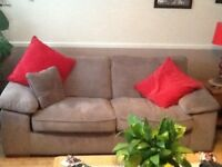 Mink cord 3 seater sofa and matching armchair