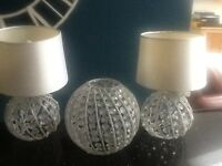 Bedroom bedside lamps and matching ceiling light / crystal /white