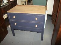Painted in Craig and Rose, shabby chic oak chest of drawers