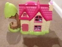 Elc happy land Cherry lane cottage, pink dolls, house, as new condition