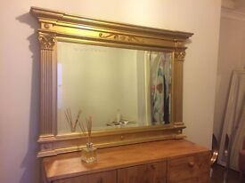 large gold bevelled glass mirror