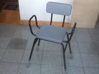 Mobility aide seat/stool/shower seat with side support handles-sponge padded plastic covered seat