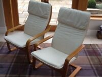 Pair of IKEA bent birch armchairs with natural seat covers