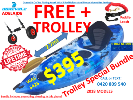 KAYAK WITH TROLLEY BUNDLE LIFETIME WARRANTY DUREVOLE KAYAKS