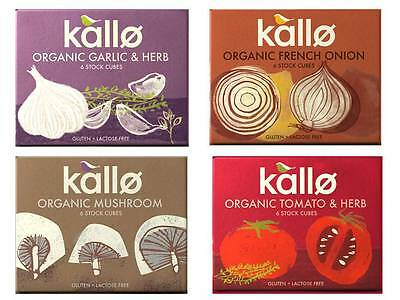 Kallo Organic Vegan Stock Cubes Range 66G Tomato  French Onion  Mushroom  Garlic