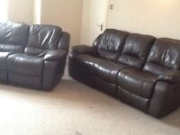 Brown leather recliners 3 +2 Newport, Shropshire