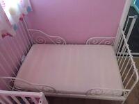 IKEA MINNEN WHITE METAL CHILDREN BED EXTENDABLE SPRUNG SULTAN LIEN SLAT TODDLER