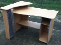 Computer Desk With Shelves & Swivel Chair With Arms