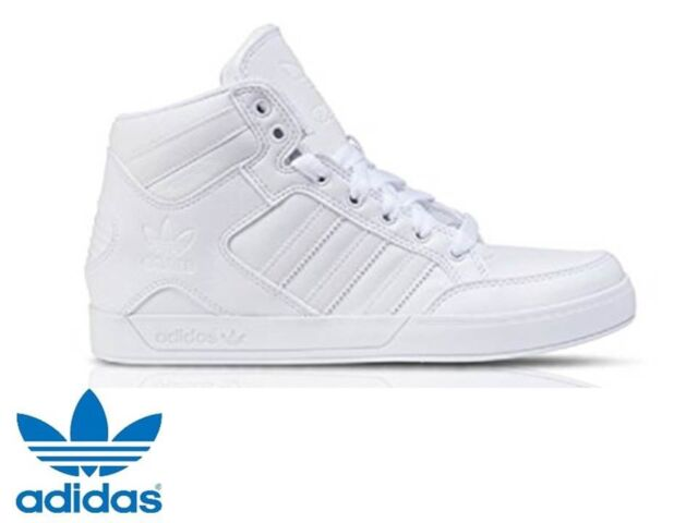 Adidas Men's Hard Court Hi-Top Trainers Triple White UK 9.5 **BRAND NEW