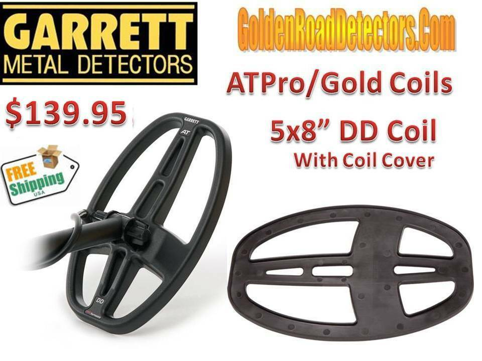"Garrett AT Max/Pro/Gold 5x8"" DD Coil Great Depth & Target Separation Ships FREE"