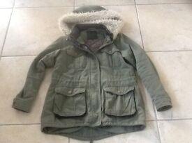 Green parka coat size 10