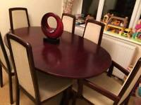 Extendable antiques Dining table with 6 chairs, all are solid wood