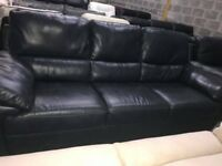 2 x Harvey's denim blue leather 3 seater sofas recliner