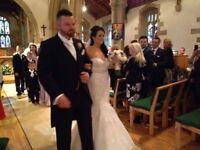 morri Lee fishtail wedding dress, white with lace detail