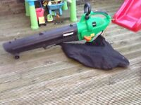 Powerbase electric leaf blower/vacuum with collection bag