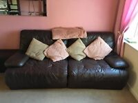Leather Reclining 3 seater and armchair