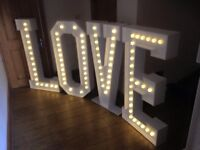 Giant Illuminated LOVE Sign- Ideal for Weddings