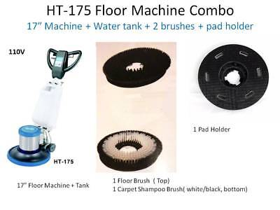 Floor Machine Brushes - Industrial Floor Machine Polisher (1 Tank + 2 Brushes + 1 Pad Holder ) HT175