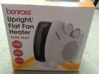 Brand new Benross upright flat fan heater, 2000 watts, portable