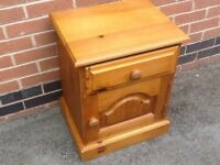 Vintage waxed pine farmhouse bedside table/cabinet