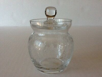 Cambridge Elegant Glass Rose Point #151 3 oz Mustard w/lid
