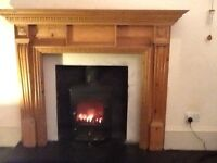 Antique pine fireplace surround