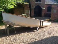 Enterprise Sailing Dinghy. 2 sets of Musto Hyde sails,launching trolley