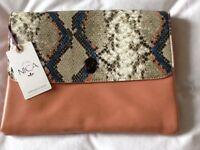 Women's Nica peach and mock snakes skin clutch bag