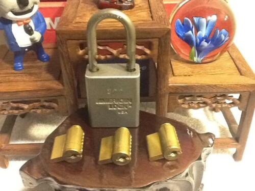 3 American Padlock Cylinders & 1 Lock Body with 1 KEY 4pc **For The Lock Sport**