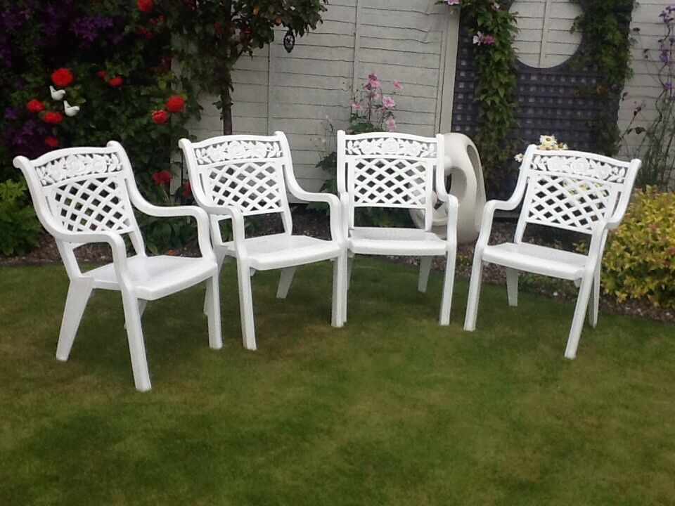 Large White Ornate Plastic Chairs In St Andrews Fife