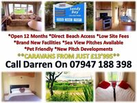 perfect family starter caravan for sale at sandy bay holiday park - park is open 12 months low fees