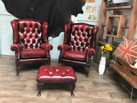 Two Chesterfield Vintage Leather Wing Back Armchairs + Footstool Ox Blood
