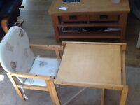 Wooden chair and table for toddler