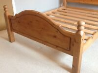 Solid waxed pine double bed