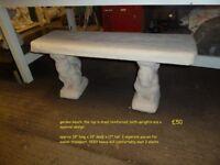 Concrete garden bench with squirrel design legs