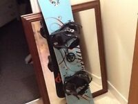 Kids rossinol snowboard and k2 bindings