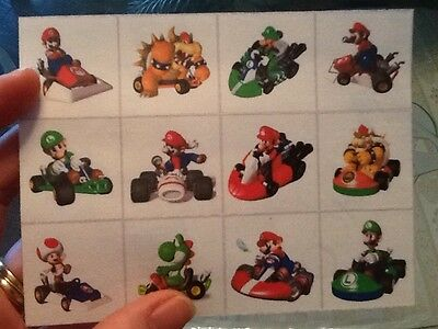 Toad Mario Kart (SUPER MARIO KART 12 MINI STICKERS LUIGI BOWSER TOAD)