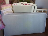 Ikea White Cot/Bed with Mattress, bed sheets, bumper