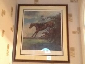 LARGE LIMITED EDITION PRINT OF ALDANITI WINNING THE GRAND NATIONAL