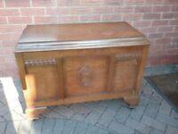 Vintage brown wooden storage box