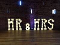 Hire our stunning 4ft ' MR & MRS' Light up letters, add the WOW Factor to your wedding day £125