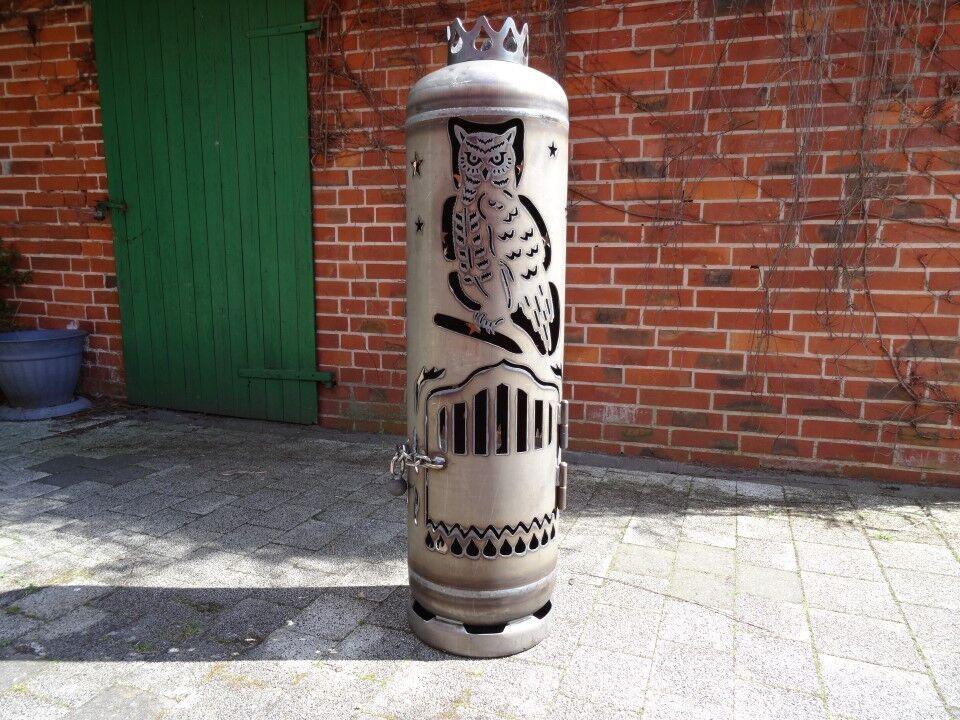 Feuerstelle Eule Owl Feuertonne Gasflasche für Garten & Terrasse