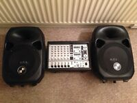 Behringer Europower PA AMP/MIXER COMBO WITH 500W SPEAKERS, STANDS AND LEADS.