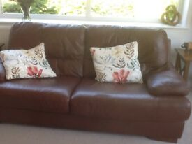 Conker brown leather sofa - 3-4 seater - excellent condition