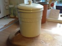 Ceramic cream biscuit barrel by Linea in perfect condition was £24 will accept £5.